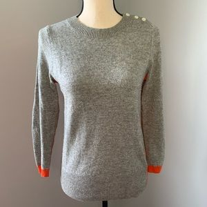 Gray and orange cashmere sweater from J. Crew